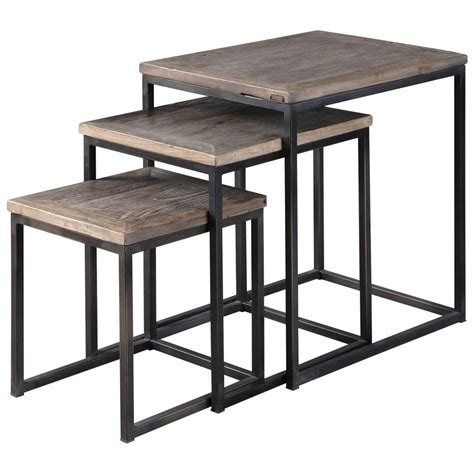 Rustic Nesting Tables by Macon Rustic Industrial Iron Elm Nesting Tables Set Of 3