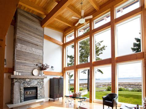Gambrel Roof timber frame great room contemporary living room