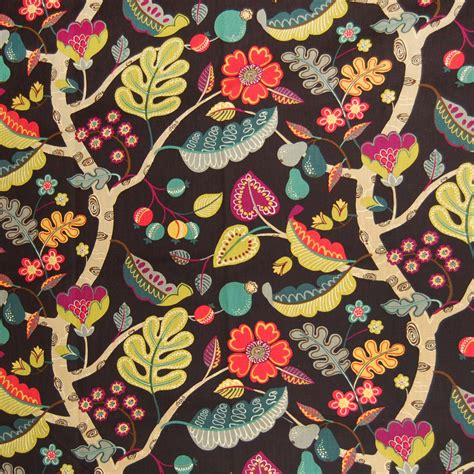 Black Floral Upholstery Fabric by Onyx Black Floral Cotton Upholstery Fabric