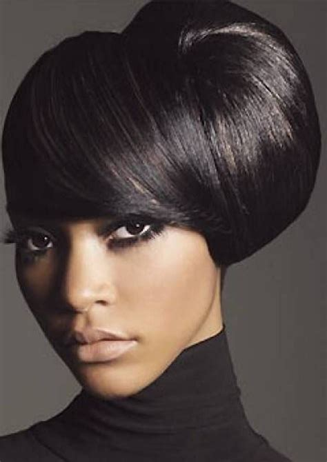 types of updo hairstyles with bangs african amer side updo medium hairstyles for african american women