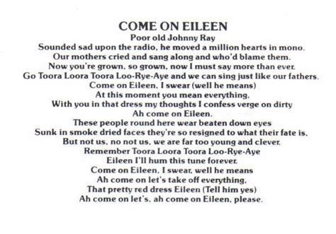 Living Room Routine Song Lyrics Top 25 Best Come On Eileen Ideas On The