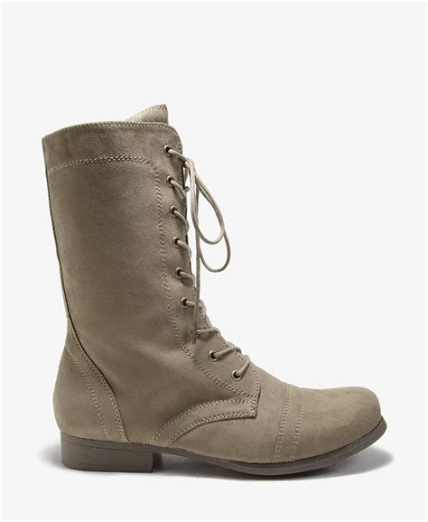 forever 21 shoes boots forever 21 faux suede combat boots in khaki olive lyst