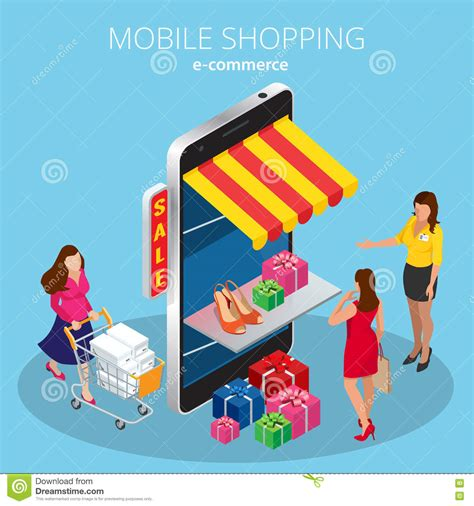 mobile shopping mobile shopping concept stock photo cartoondealer