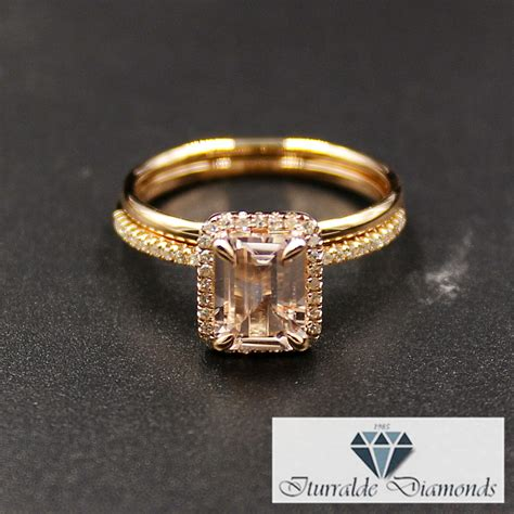 emerald cut morganite engagement ring pave halo