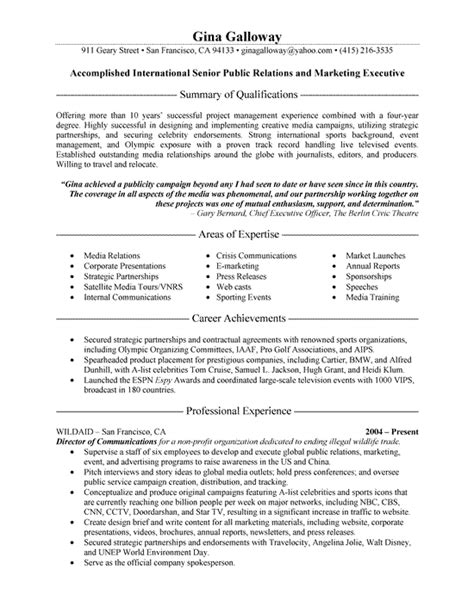 pr resume template relations executive resume exle