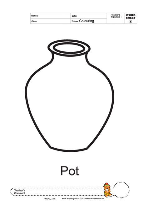 water pot coloring page free coloring worksheets