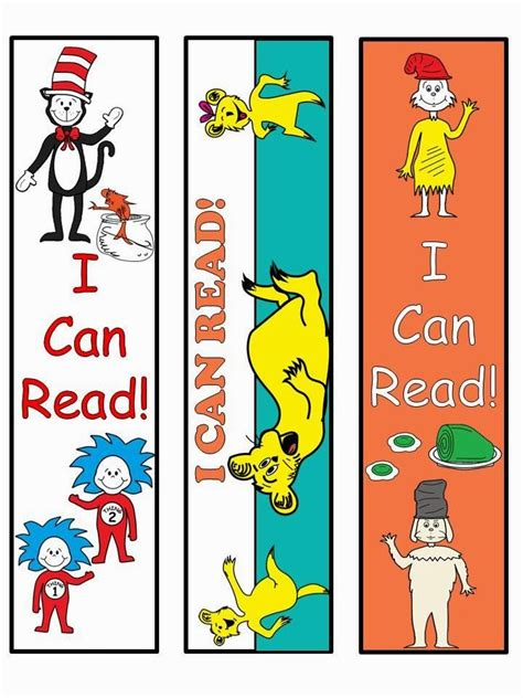 printable bookmarks for kindergarten 156 best images about dr seuss classroom on pinterest
