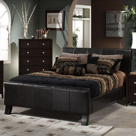 hillsdale brookland dark brown leather upholstered sleigh bed contemporary bedroom furniture