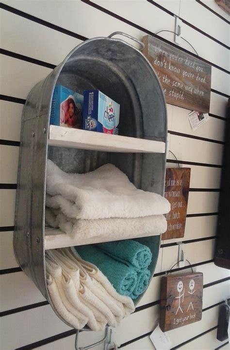 cupboard shelf ideas washtub upcycled hanging wall shelf cupboard towel