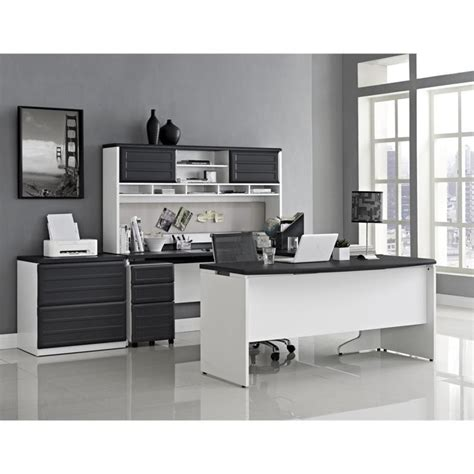 Home Computer Desks With Hutch Small Office Set In White And Gray 9848296