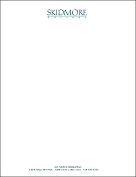 Letterhead Of College College Stationery