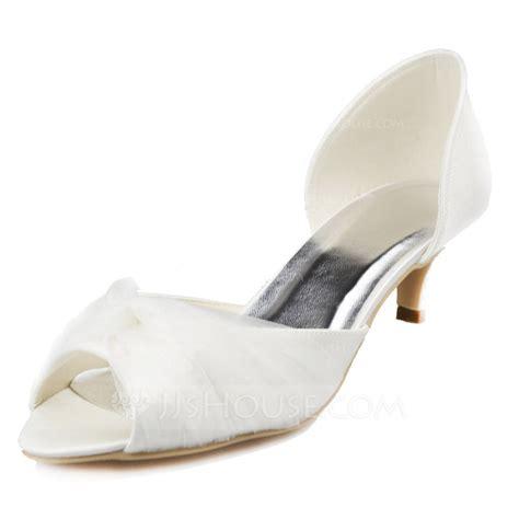 wedding shoes kitten heel with peep toe s satin kitten heel peep toe sandals with ruched