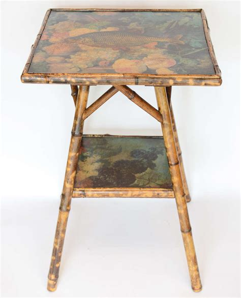 Decoupage Tables For Sale - antique two tier decoupage bamboo table for sale at 1stdibs