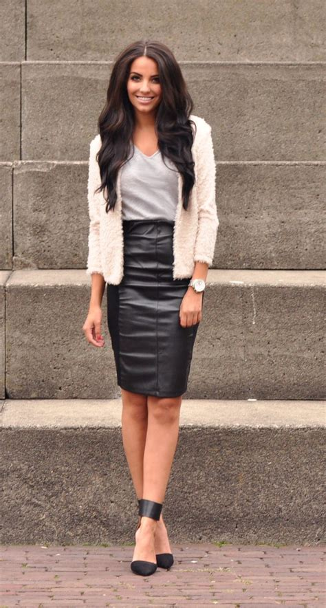 how to wear leather skirts aelida