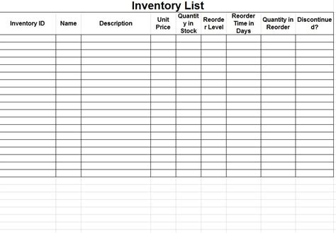 Basic Inventory Spreadsheet Template Sle V M D Com Printable Inventory List Template