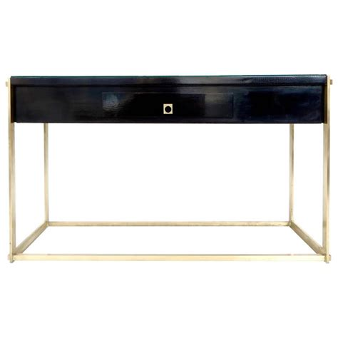 black lacquer sofa table italian black lacquer and bronze framed one drawer console