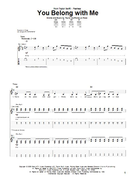 change taylor swift guitar tabs you belong with me sheet music direct