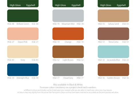 eggshell paint color chart