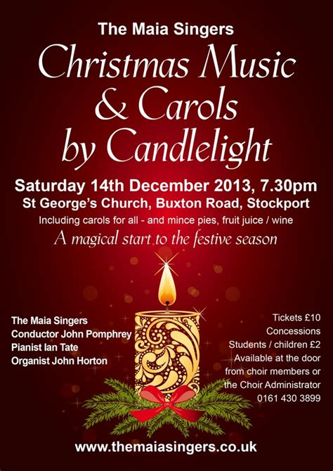 2013 carols by candlelight a5 flyer the maia singers