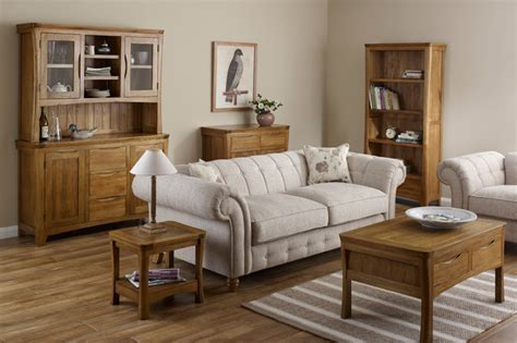oak livingroom furniture orrick rustic solid oak living room traditional