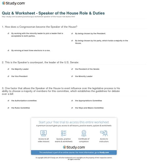 who speaker of the house quiz worksheet speaker of the house role duties study com