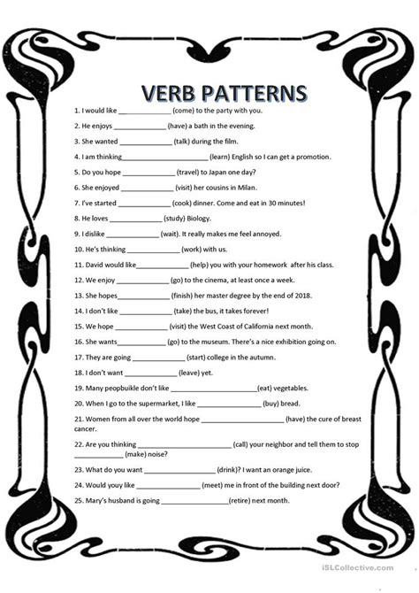 pattern verbs rules counting number worksheets 187 verb patterns exercises pdf