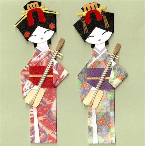 japanese geisha in kimono with shamisen origami paper doll