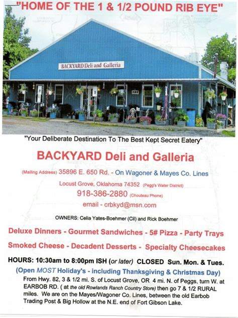 backyard deli backyard deli galleria locust grove ok 74352 918 386