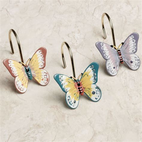 butterfly curtain hooks lenox butterfly meadow shower curtain