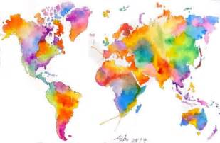 World Map Art by Ooak Original World Map Art Colorful Watercolor