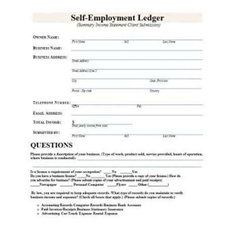 Self Employment Ledger 40 Free Templates Exles Self Employment Ledger Template