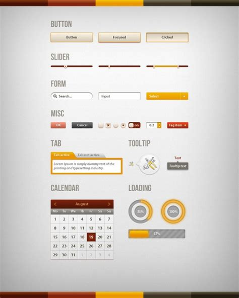 interface design template web ui design psd template free