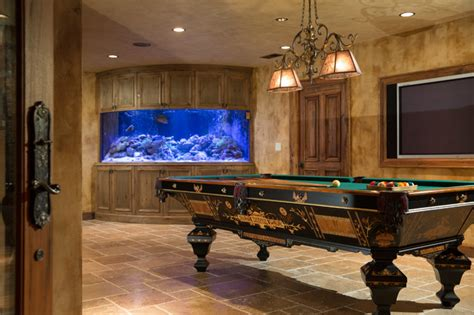 finished basement with billiards and custom live reef fish