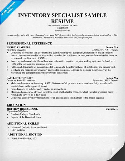Inventory Specialist Description Resume inventory clerk cover letter computer support cover letter