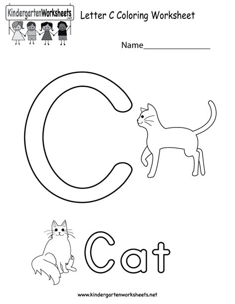 letter c coloring worksheet free kindergarten english