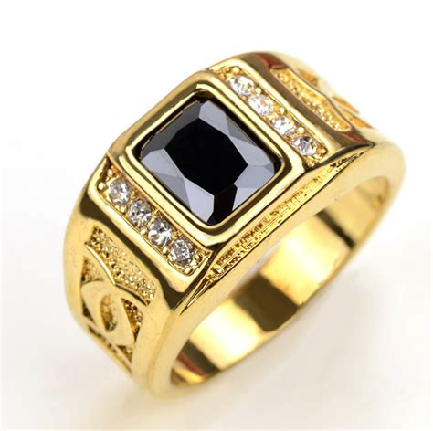 18k real gold plated finger rings for with black