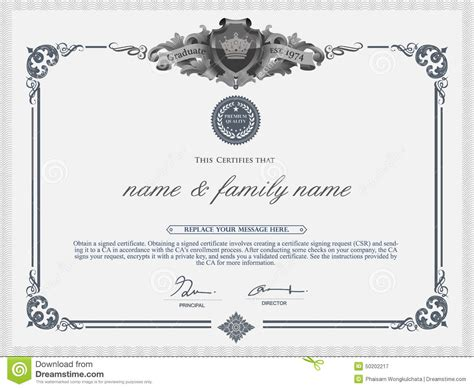 certificate template illustrator vector certificate template stock vector image 50202217