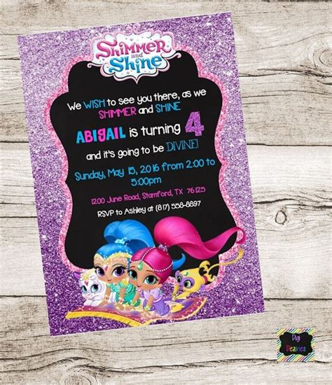 1000 Images About Shimmer And Shine On Pinterest Etsy Store Glitter Invitations And Girl Shimmer And Shine Invitations Templates