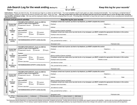 job search log week template in word and pdf formats