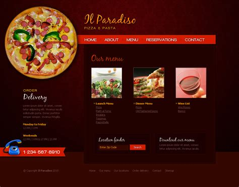 css layout restaurant il paradiso pizza pasta restaurant html css by