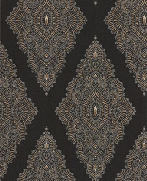 Base Gold Flower Wallpaper 45cm X 10m designer wallpaper julien macdonald fabulous non woven wallpaper 31 166 ornaments black beige