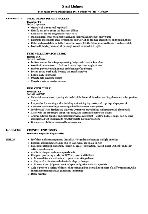 Dispatcher Clerk Sle Resume by Dispatch Clerk Resume Sles Velvet