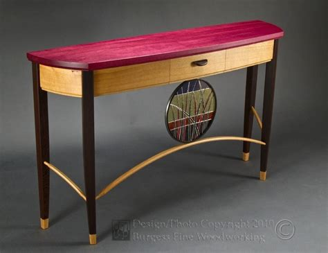 custom made sofa tables custom neapolitan sofa table with purpleheart oak and
