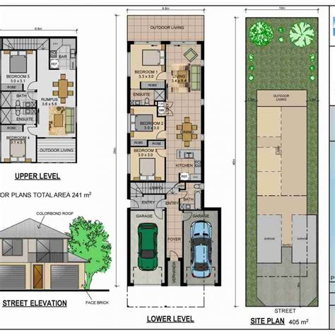 narrow lot house plans home mansion