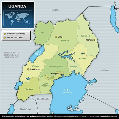 map of uganda uganda regionen karte
