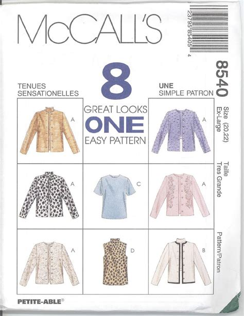 sewing pattern unlined jacket mccall s 8540 misses unlined jacket and top sewing