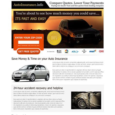 Free Auto Insurance Quotes Comparison by Compare Quotes Lower Your Payments Free Quote Lead Capture