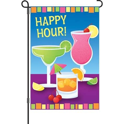 happy hour flags for the garden and home decor