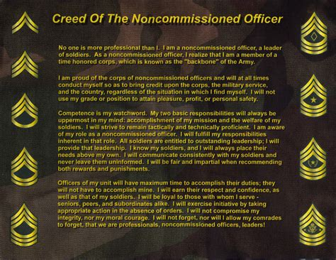 What Is A Non Commissioned Officer by Nco Creed