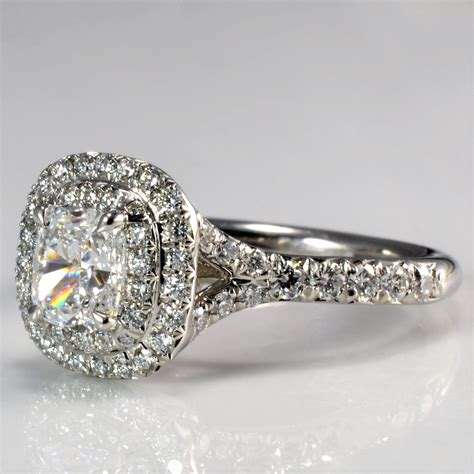 tiffany  soleste double halo diamond engagement